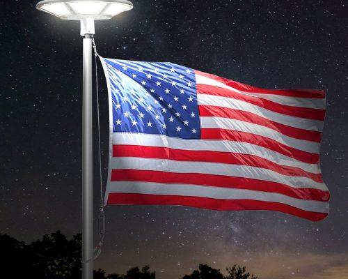 Flag on light post, american flag lighted, flagpole maintenance and repair