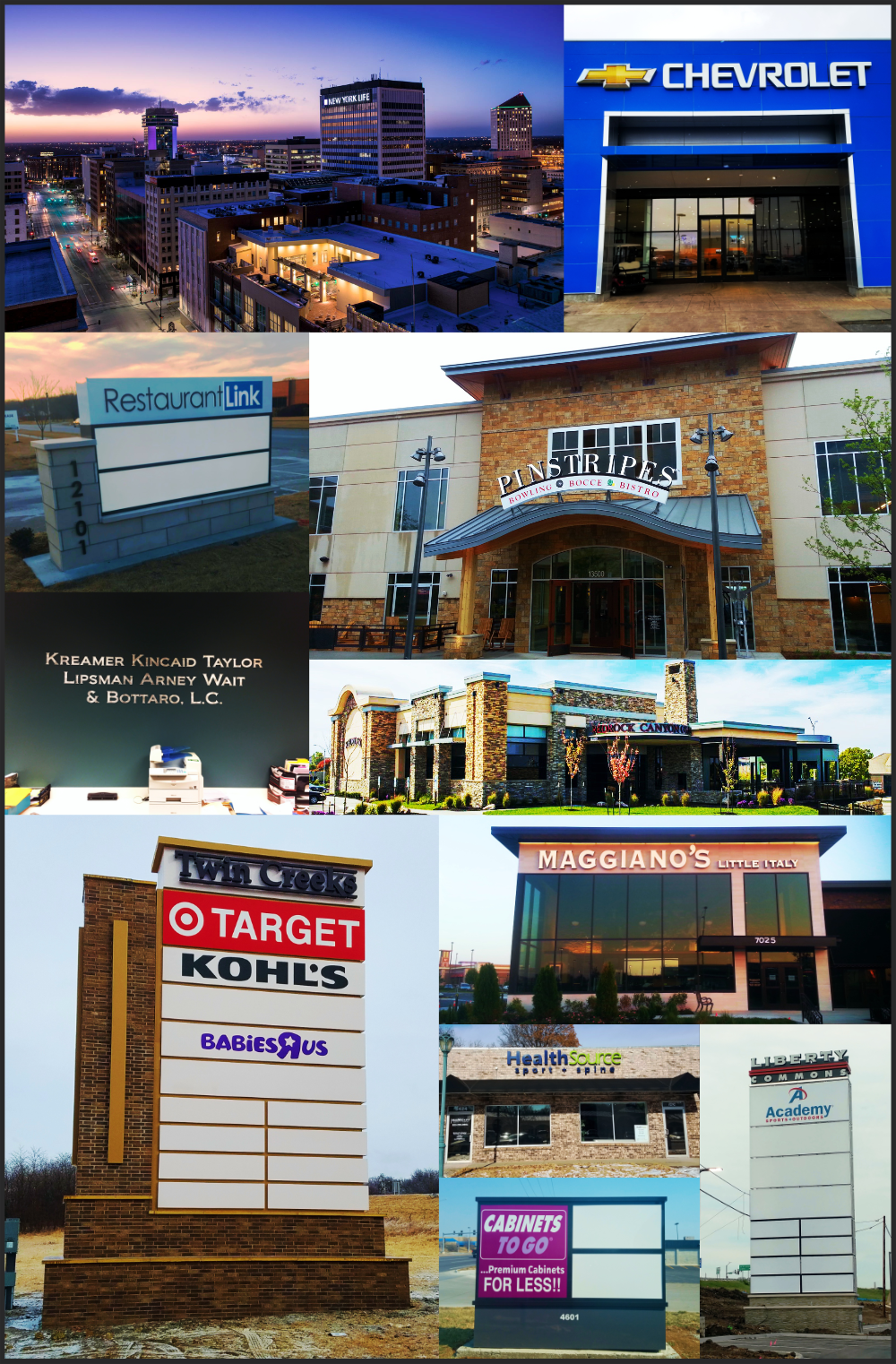 Collage of different signs, Home page, exterior signs, monument signs, exterior building signs